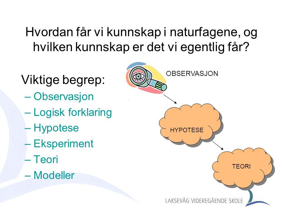 Hvordan får vi kunnskap i naturfagene, og hvilken kunnskap er det vi egentlig får? Viktige begrep: –Observasjon –Logisk forklaring –Hypotese –Eksperim