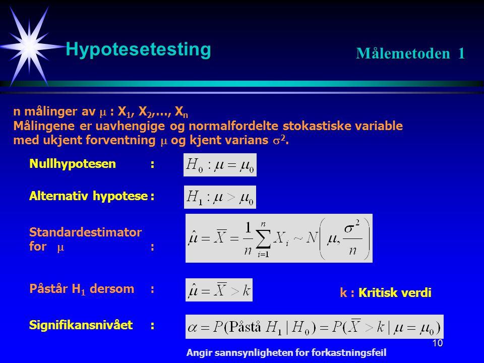10 Hypotesetesting Målemetoden 1 Nullhypotesen: Alternativ hypotese: Påstår H 1 dersom: Signifikansnivået: k : Kritisk verdi n målinger av  : X 1, X