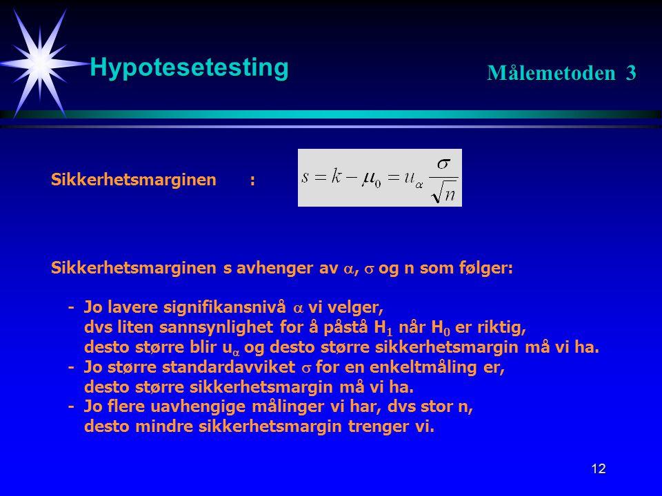 12 Hypotesetesting Målemetoden 3 Sikkerhetsmarginen: Sikkerhetsmarginen s avhenger av ,  og n som følger: -Jo lavere signifikansnivå  vi velger, dv