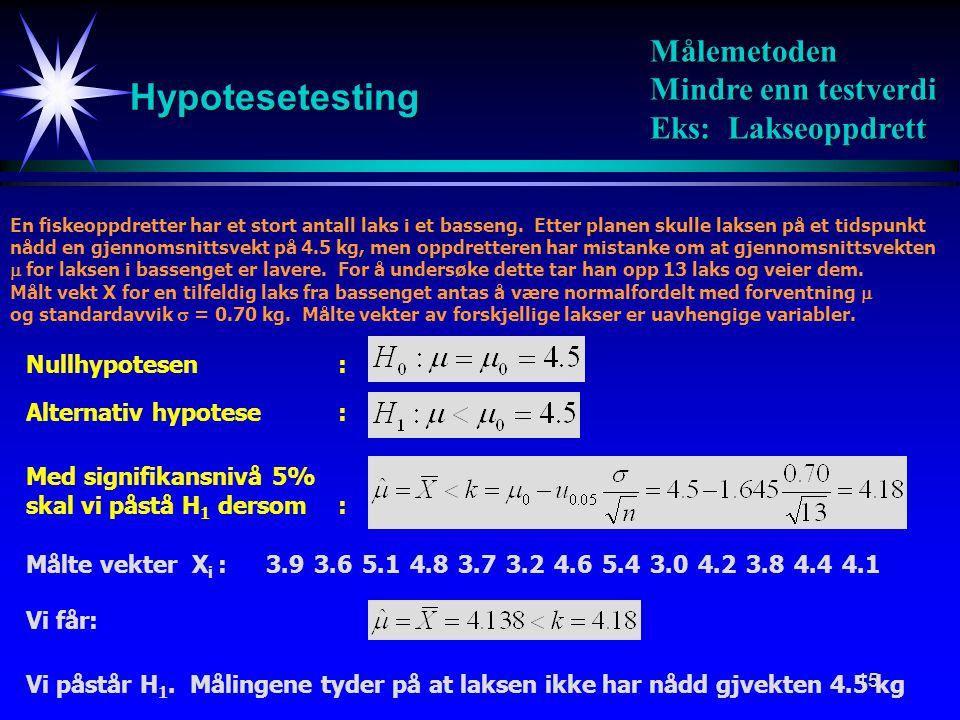15 Hypotesetesting Målemetoden Mindre enn testverdi Eks: Lakseoppdrett Nullhypotesen: Alternativ hypotese: Med signifikansnivå 5% skal vi påstå H 1 de