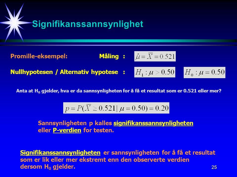 25 Signifikanssannsynlighet Promille-eksempel: Nullhypotesen / Alternativ hypotese : Måling: Anta at H 0 gjelder, hva er da sannsynligheten for å få e