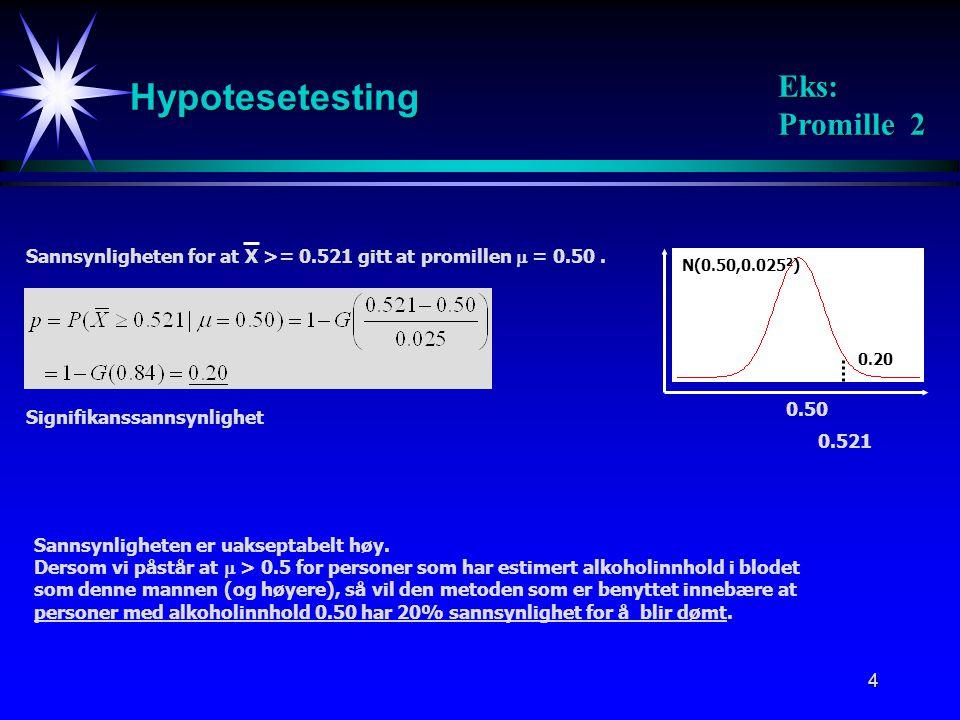 5 0.50  = 0.01 N(0.50,0.025 2 ) Hypotesetesting Eks: Promille 3 k=0.558 Sikkerhetsmargin:Minsteavstanden mellom X og  = 0.50 for at vi skal kunne påstå  > 0.50 0.500.60k Sikkerhetsmargin Vi vil bestemme k slik at sannsynligheten for å påstå  > 0.50 dersom  i virkeligheten er 0.50, er meget liten, la oss si 1%.