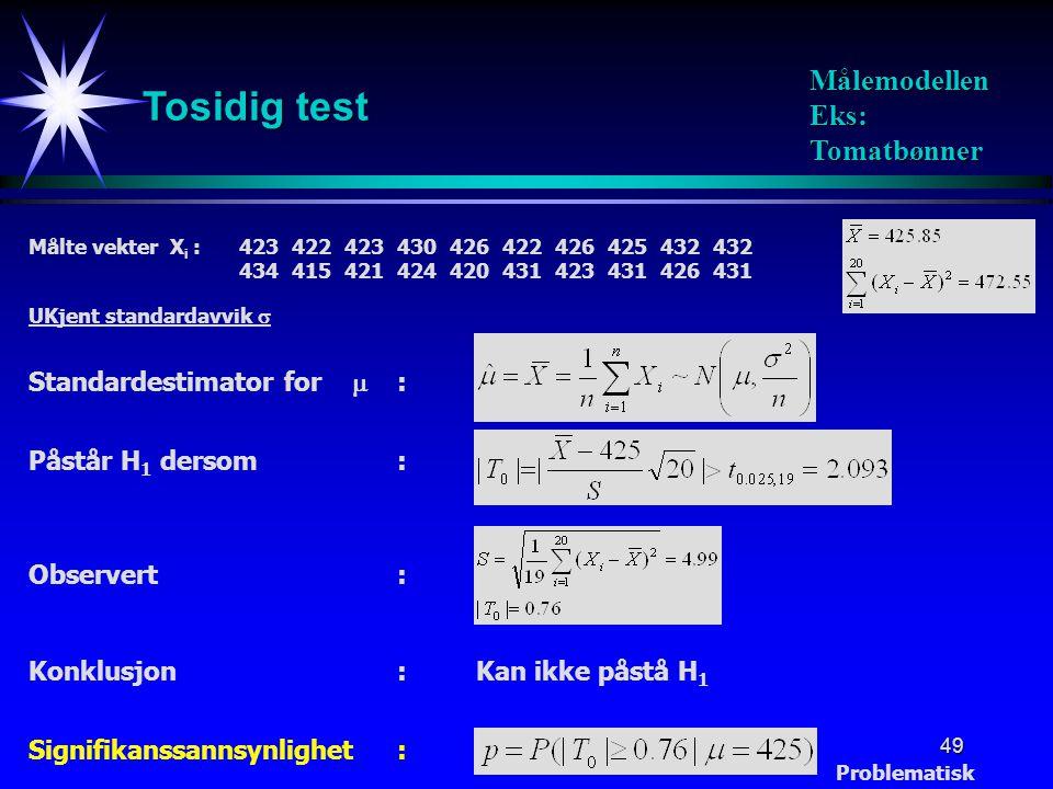 49 Tosidig test Målemodellen Eks: Tomatbønner Påstår H 1 dersom: Signifikanssannsynlighet: Standardestimator for  : Målte vekter X i :423422423430426