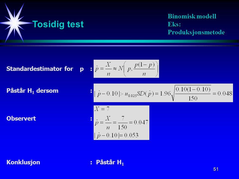 51 Tosidig test Binomisk modell Eks: Produksjonsmetode Standardestimator for p : Påstår H 1 dersom: Observert: Konklusjon:Påstår H 1
