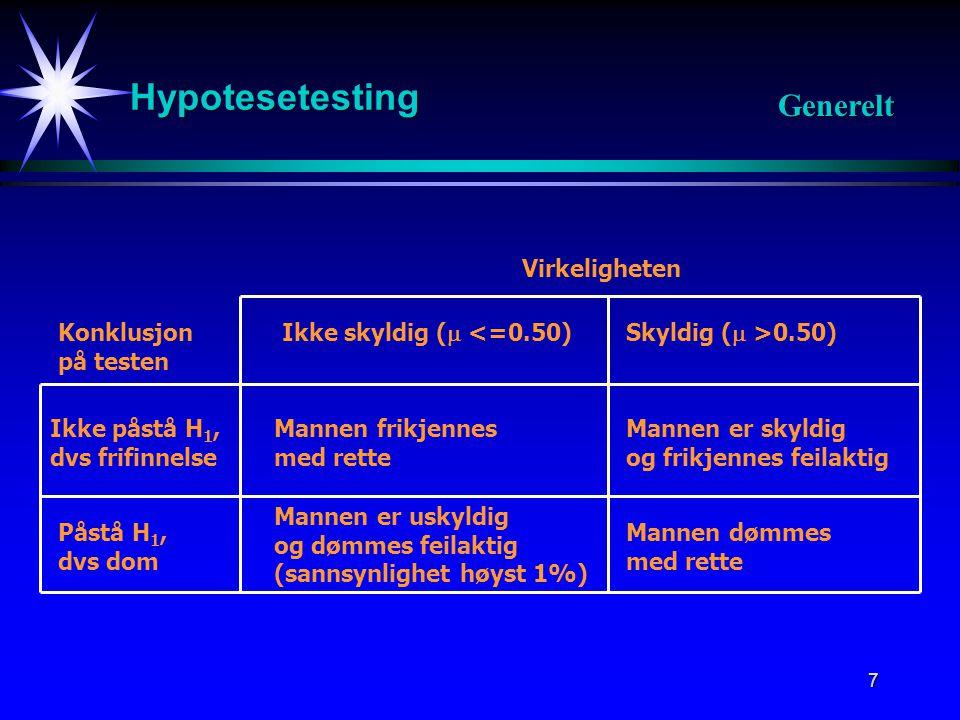 8 Hypotesetesting Generelt Konklusjon Virkeligheten Forkaster ikke H 0 H 0 sann A Forkaster H 0 H 1 sann B C D A:Riktig B:Feil H 0 er sann, men testen forkaster den(Alvorlig feil) C:FeilH 1 er sann, men testen forkaster ikke H 0 D:Riktig Forkastningsfeil Godtakingsfeil Styrkefunksjon P(A)+P(B)=1 P(C)+P(D)=1