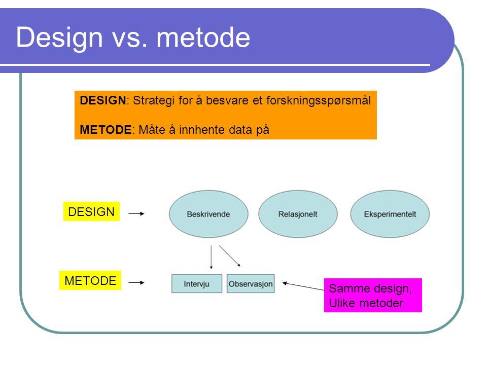 Design vs. metode DESIGN: Strategi for å besvare et forskningsspørsmål METODE: Måte å innhente data på DESIGN METODE Samme design, Ulike metoder