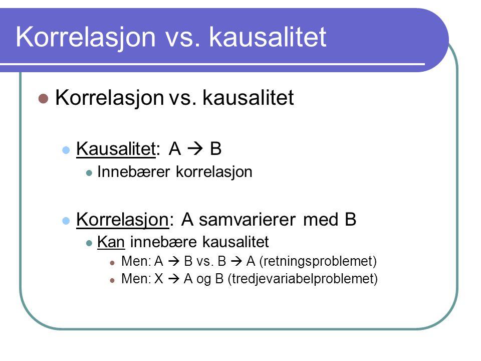 Korrelasjon vs. kausalitet  Korrelasjon vs. kausalitet  Kausalitet: A  B  Innebærer korrelasjon  Korrelasjon: A samvarierer med B  Kan innebære