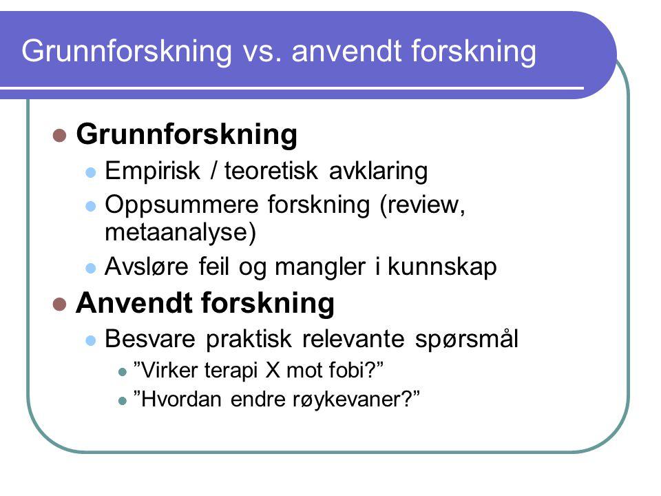 Grunnforskning vs.