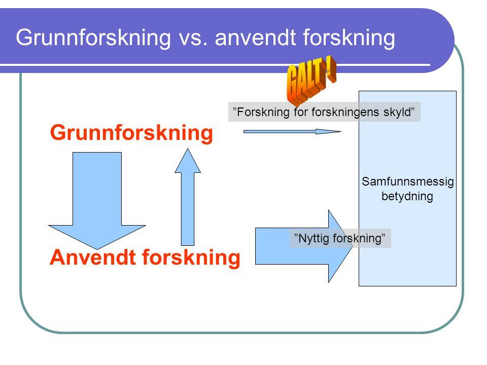 Grunnforskning vs. anvendt forskning Grunnforskning Anvendt forskning Samfunnsmessig betydning