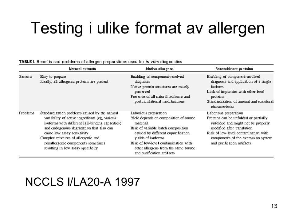 13 NCCLS I/LA20-A 1997 Testing i ulike format av allergen