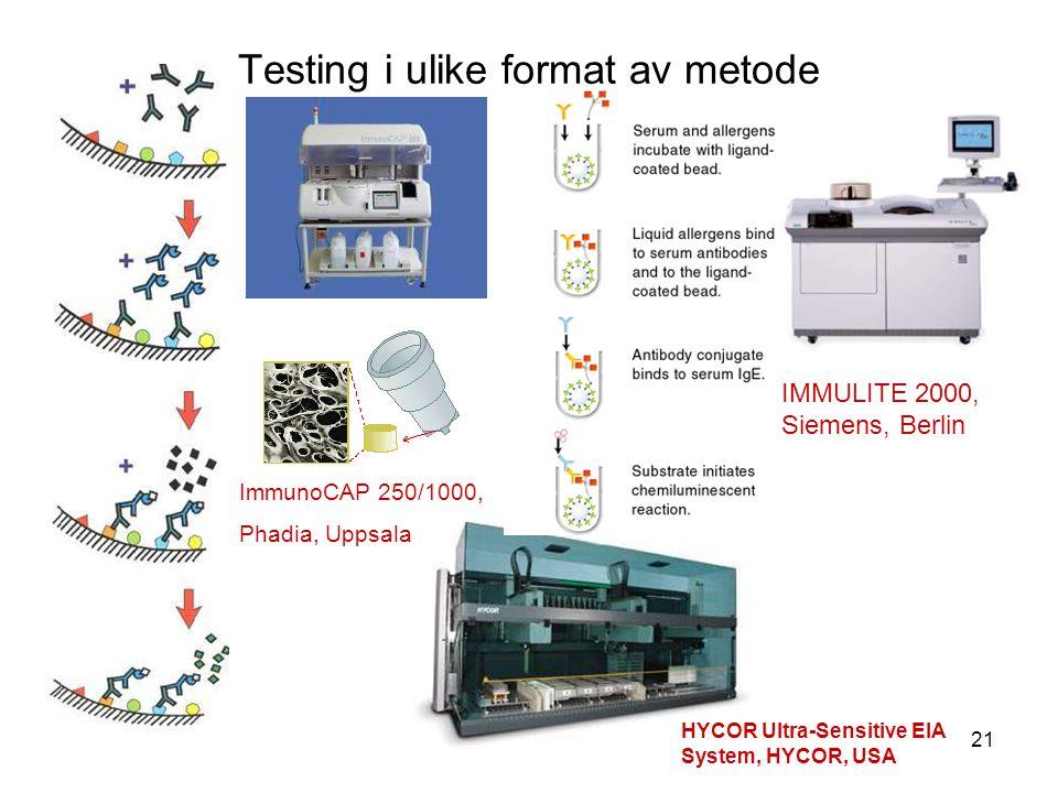21 Testing i ulike format av metode ImmunoCAP 250/1000, Phadia, Uppsala HYCOR Ultra-Sensitive EIA System, HYCOR, USA IMMULITE 2000, Siemens, Berlin