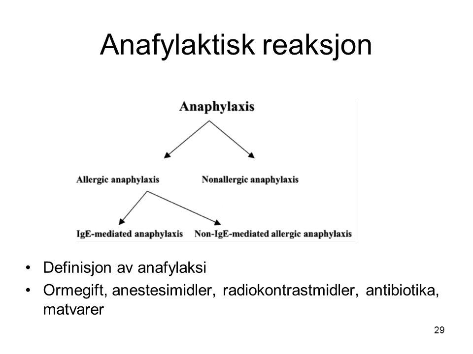29 Anafylaktisk reaksjon •Definisjon av anafylaksi •Ormegift, anestesimidler, radiokontrastmidler, antibiotika, matvarer