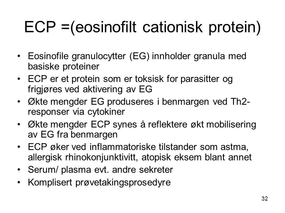 32 ECP =(eosinofilt cationisk protein) •Eosinofile granulocytter (EG) innholder granula med basiske proteiner •ECP er et protein som er toksisk for pa