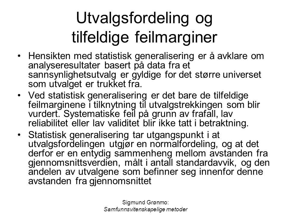 Sigmund Grønmo: Samfunnsvitenskapelige metoder Utvalgsfordeling og tilfeldige feilmarginer •Hensikten med statistisk generalisering er å avklare om an