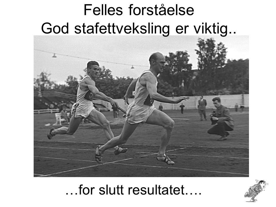 Felles forståelse God stafettveksling er viktig.. …for slutt resultatet….