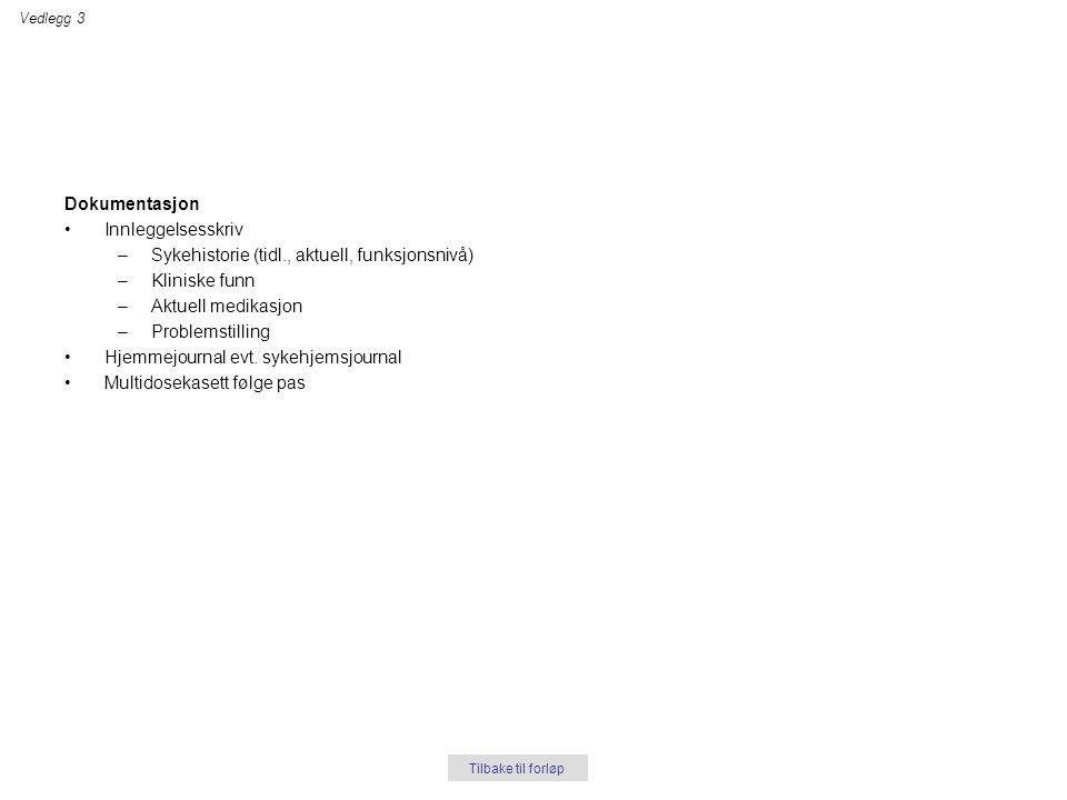 Dokumentasjon •Innleggelsesskriv –Sykehistorie (tidl., aktuell, funksjonsnivå) –Kliniske funn –Aktuell medikasjon –Problemstilling •Hjemmejournal evt.