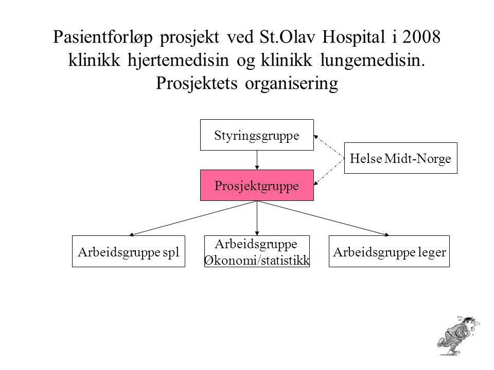 Pasientforløp prosjekt ved St.Olav Hospital i 2008 klinikk hjertemedisin og klinikk lungemedisin. Prosjektets organisering Styringsgruppe Prosjektgrup