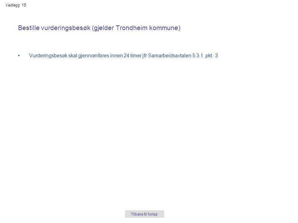 Bestille vurderingsbesøk (gjelder Trondheim kommune) •Vurderingsbesøk skal gjennomføres innen 24 timer jfr Samarbeidsavtalen 5.3.1. pkt. 3 Tilbake til