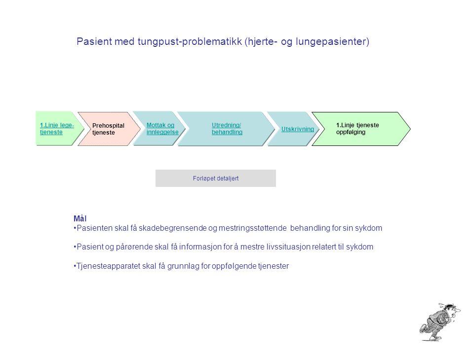 Pasient med tungpust-problematikk (hjerte- og lungepasienter) Mottak og innleggelse Utredning/ behandling Utskrivning Prehospital tjeneste 1.Linje leg