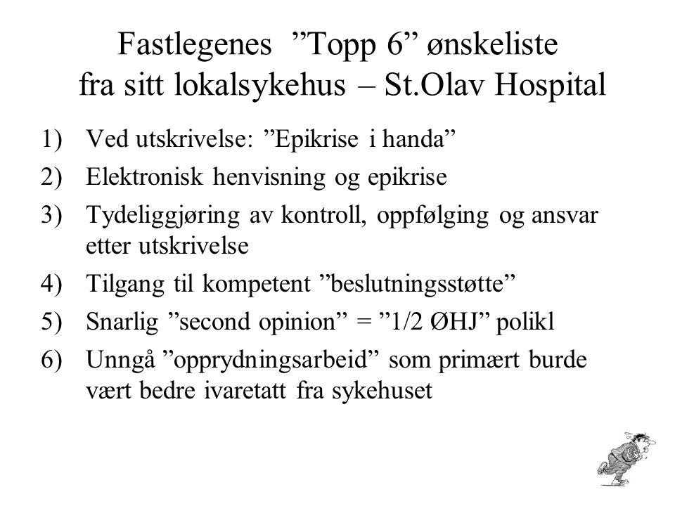"""Fastlegenes """"Topp 6"""" ønskeliste fra sitt lokalsykehus – St.Olav Hospital 1)Ved utskrivelse: """"Epikrise i handa"""" 2)Elektronisk henvisning og epikrise 3)"""
