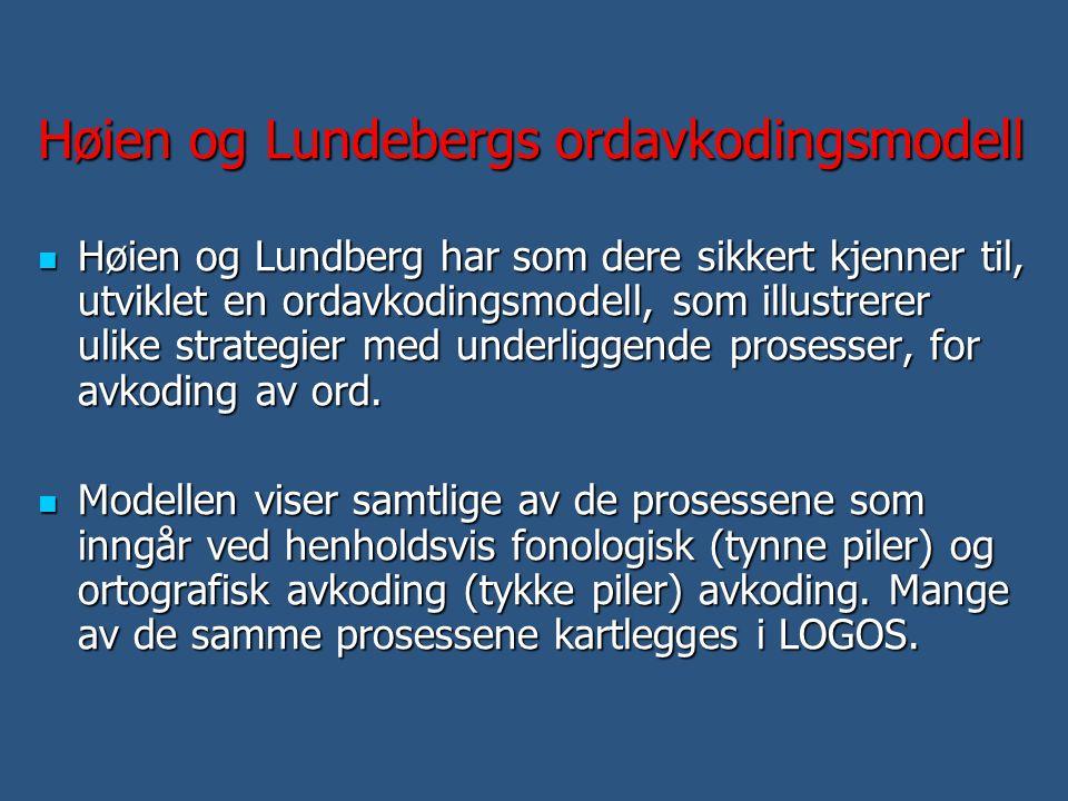 Høien og Lundebergs ordavkodingsmodell  Høien og Lundberg har som dere sikkert kjenner til, utviklet en ordavkodingsmodell, som illustrerer ulike str
