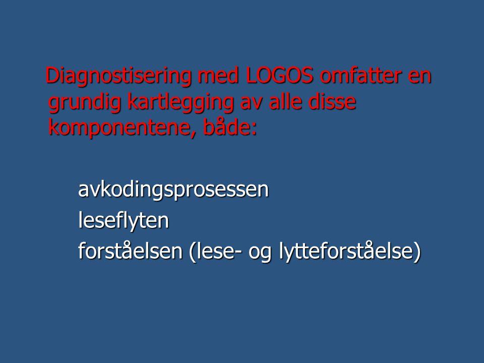 Diagnostisering med LOGOS omfatter en grundig kartlegging av alle disse komponentene, både: Diagnostisering med LOGOS omfatter en grundig kartlegging
