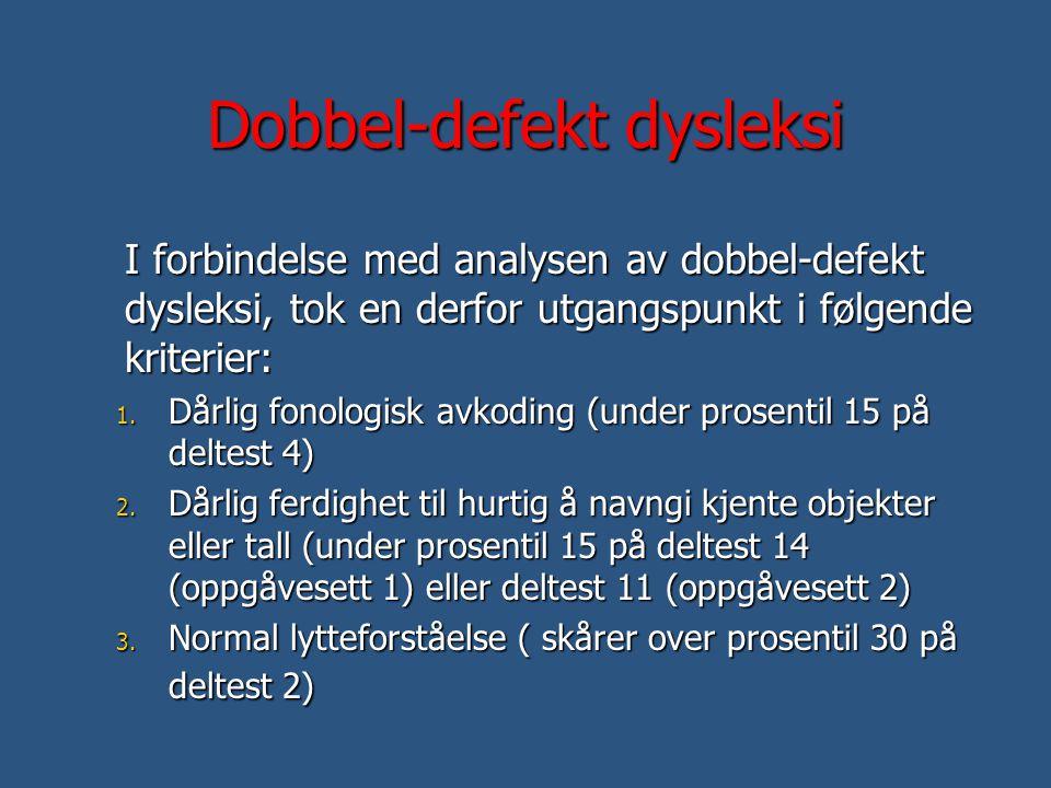 Dobbel-defekt dysleksi I forbindelse med analysen av dobbel-defekt dysleksi, tok en derfor utgangspunkt i følgende kriterier: 1. Dårlig fonologisk avk