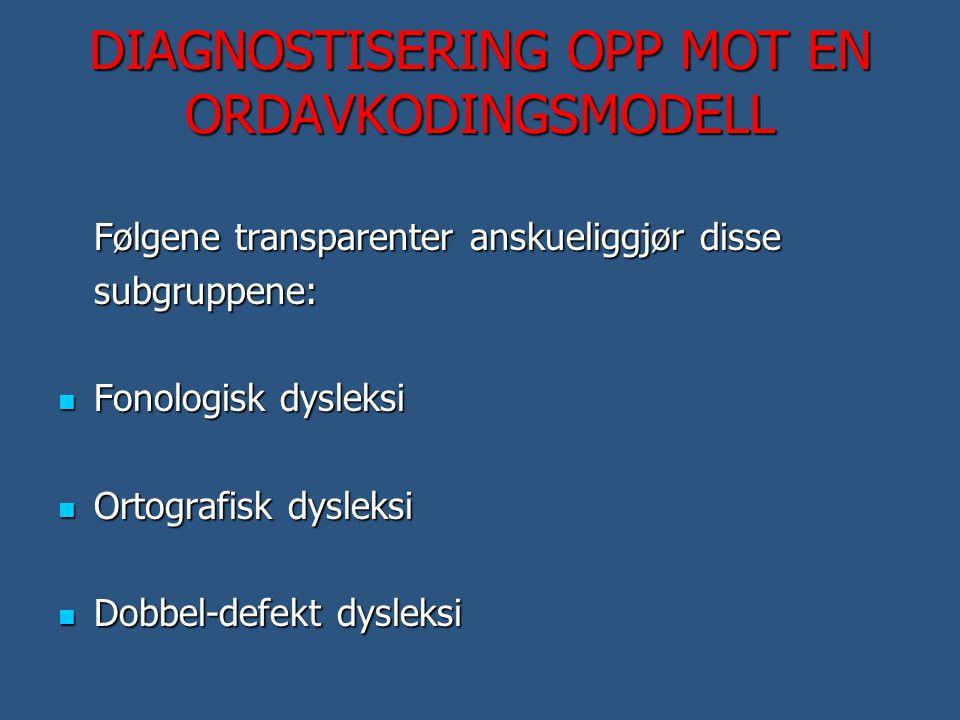 DIAGNOSTISERING OPP MOT EN ORDAVKODINGSMODELL Følgene transparenter anskueliggjør disse subgruppene:  Fonologisk dysleksi  Ortografisk dysleksi  Do