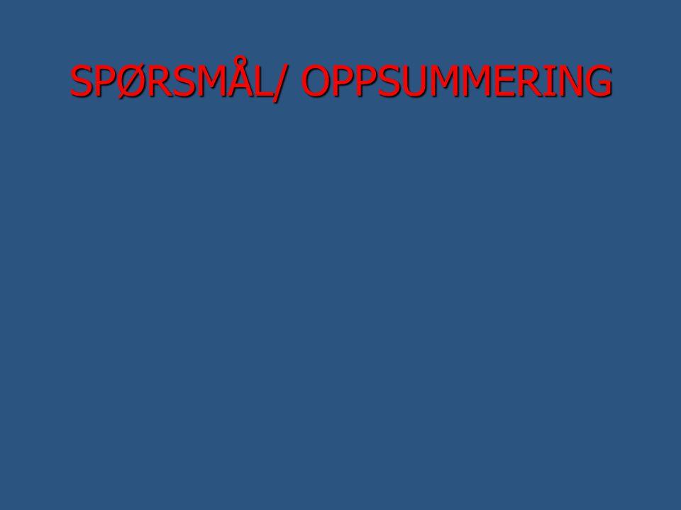 SPØRSMÅL/ OPPSUMMERING