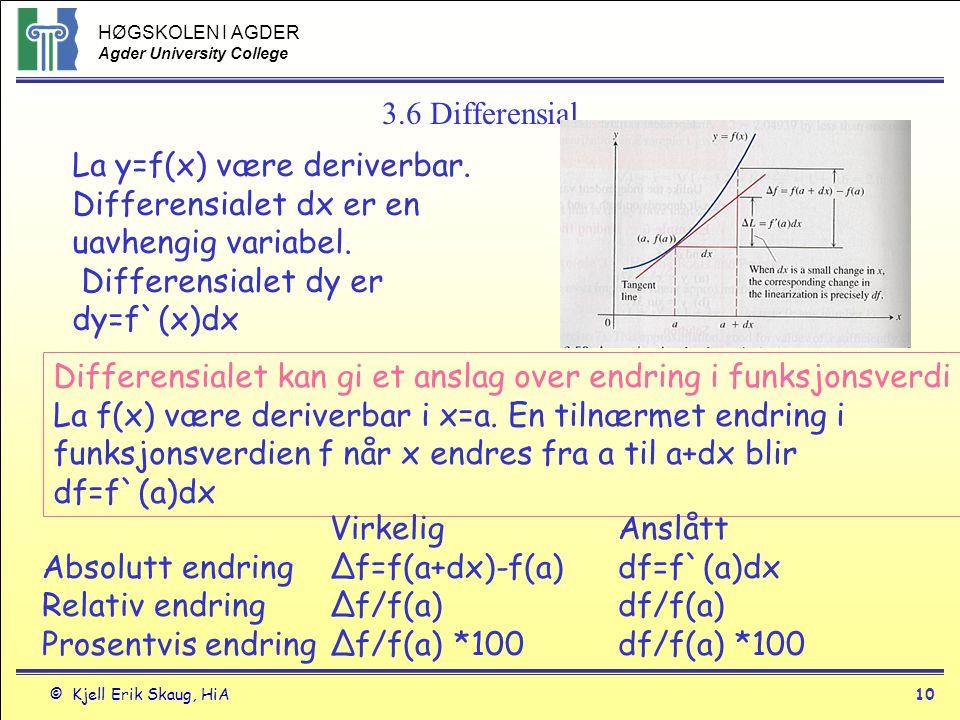 HØGSKOLEN I AGDER Agder University College © Kjell Erik Skaug, HiA10 3.6 Differensial La y=f(x) være deriverbar. Differensialet dx er en uavhengig var