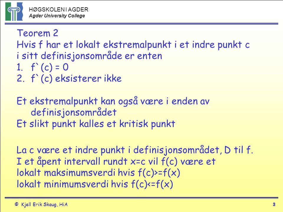 HØGSKOLEN I AGDER Agder University College © Kjell Erik Skaug, HiA3 Teorem 2 Hvis f har et lokalt ekstremalpunkt i et indre punkt c i sitt definisjons
