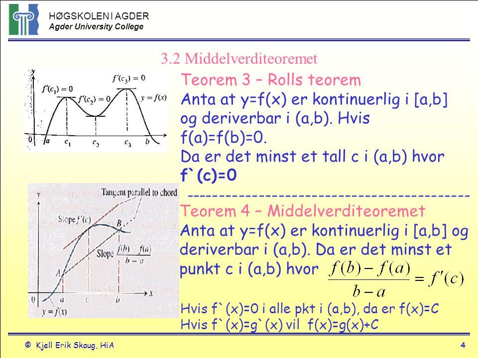 HØGSKOLEN I AGDER Agder University College © Kjell Erik Skaug, HiA4 3.2 Middelverditeoremet Teorem 3 – Rolls teorem Anta at y=f(x) er kontinuerlig i [