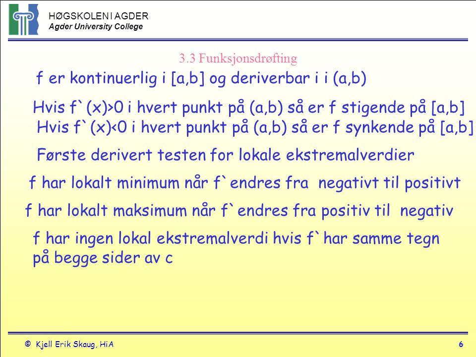 HØGSKOLEN I AGDER Agder University College © Kjell Erik Skaug, HiA6 3.3 Funksjonsdrøfting f er kontinuerlig i [a,b] og deriverbar i i (a,b) Hvis f`(x)