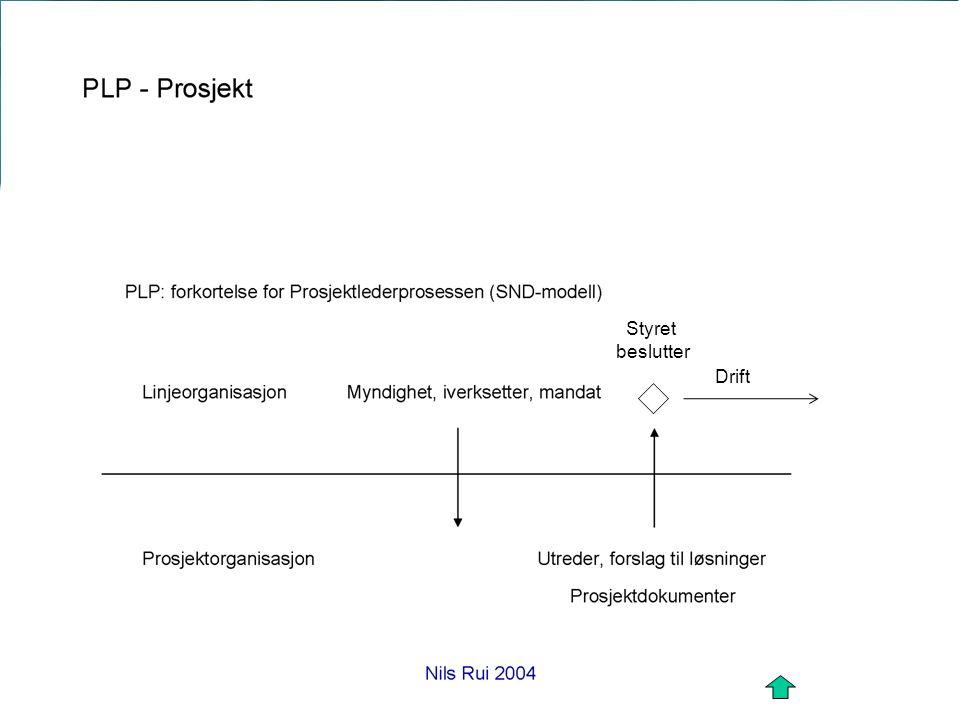 Prosjektorganisering Nils Rui om implementering av KS Styret beslutter Drift