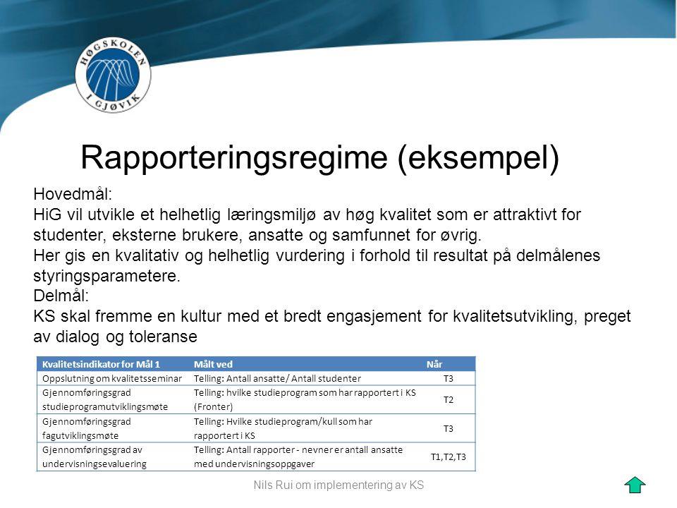 Nils Rui om implementering av KS Rapporteringsregime (eksempel) Hovedmål: HiG vil utvikle et helhetlig læringsmiljø av høg kvalitet som er attraktivt