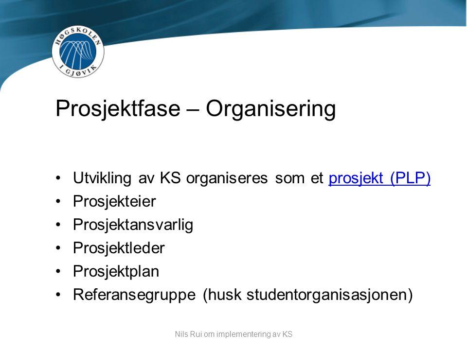 •Utvikling av KS organiseres som et prosjekt (PLP)prosjekt (PLP) •Prosjekteier •Prosjektansvarlig •Prosjektleder •Prosjektplan •Referansegruppe (husk