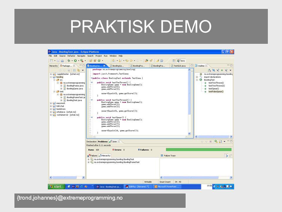 {trond,johannes}@extremeprogramming.no Agile software development •Effektive teknikker til daglig bruk: –Test-driven development –Pair programming –Continuous Integration –Stand-up meetings