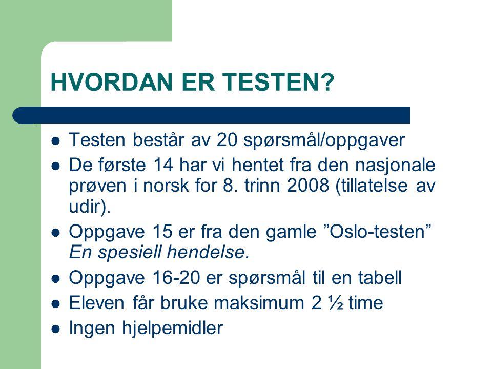 HVORDAN ER TESTEN?  Testen består av 20 spørsmål/oppgaver  De første 14 har vi hentet fra den nasjonale prøven i norsk for 8. trinn 2008 (tillatelse