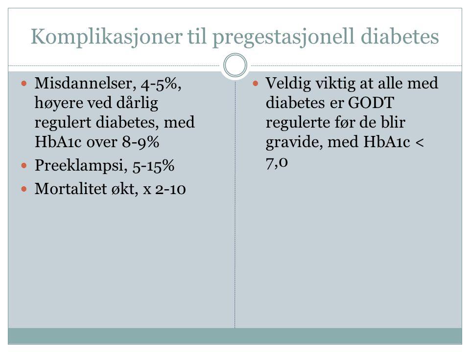 Komplikasjoner til pregestasjonell diabetes  Misdannelser, 4-5%, høyere ved dårlig regulert diabetes, med HbA1c over 8-9%  Preeklampsi, 5-15%  Mortalitet økt, x 2-10  Veldig viktig at alle med diabetes er GODT regulerte før de blir gravide, med HbA1c < 7,0