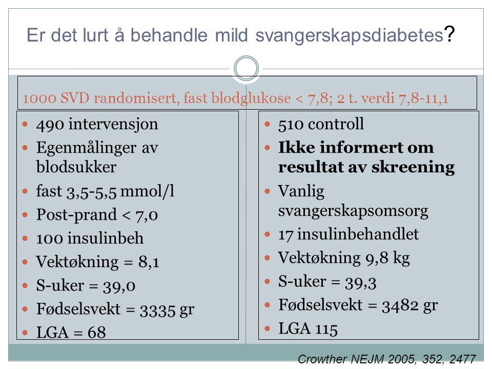 1000 SVD randomisert, fast blodglukose < 7,8; 2 t.