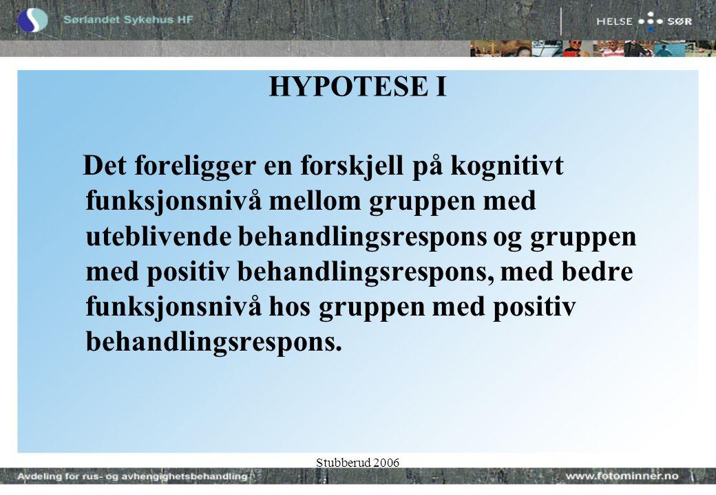 Stubberud 2006 HYPOTESE I Det foreligger en forskjell på kognitivt funksjonsnivå mellom gruppen med uteblivende behandlingsrespons og gruppen med positiv behandlingsrespons, med bedre funksjonsnivå hos gruppen med positiv behandlingsrespons.
