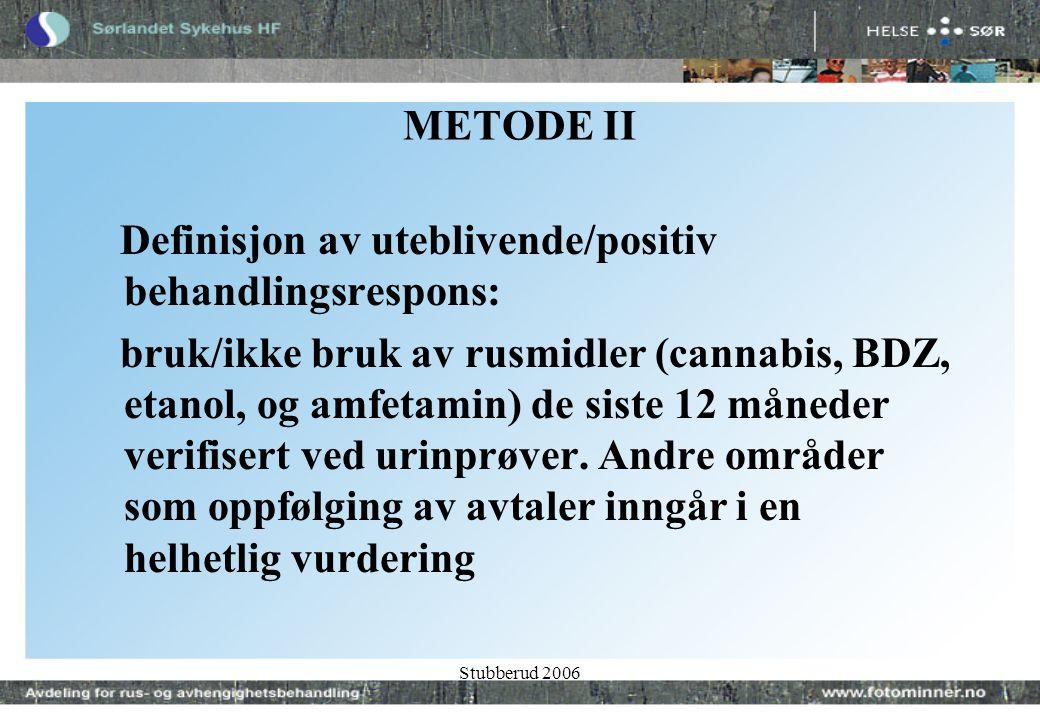 Stubberud 2006 METODE II Definisjon av uteblivende/positiv behandlingsrespons: bruk/ikke bruk av rusmidler (cannabis, BDZ, etanol, og amfetamin) de siste 12 måneder verifisert ved urinprøver.