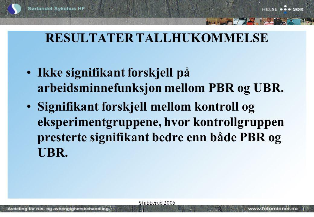 Stubberud 2006 RESULTATER TALLHUKOMMELSE •Ikke signifikant forskjell på arbeidsminnefunksjon mellom PBR og UBR.