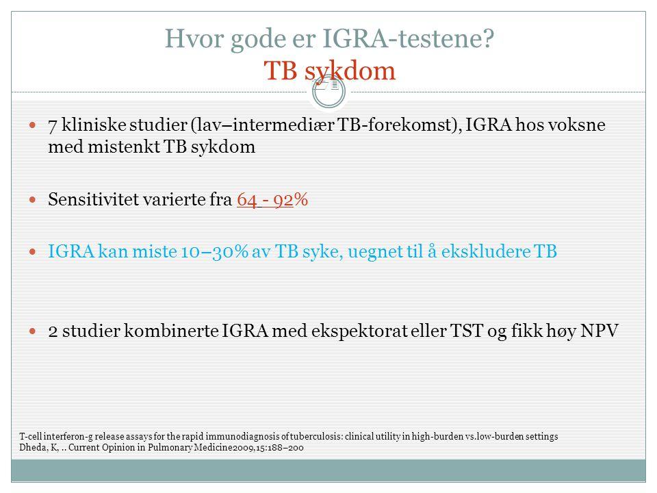 13 Hvor gode er IGRA-testene? TB sykdom  7 kliniske studier (lav–intermediær TB-forekomst), IGRA hos voksne med mistenkt TB sykdom  Sensitivitet var