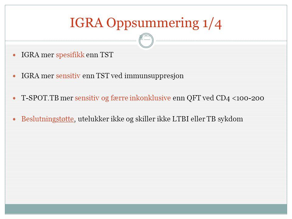 20 IGRA Oppsummering 1/4  IGRA mer spesifikk enn TST  IGRA mer sensitiv enn TST ved immunsuppresjon  T-SPOT.TB mer sensitiv og færre inkonklusive e