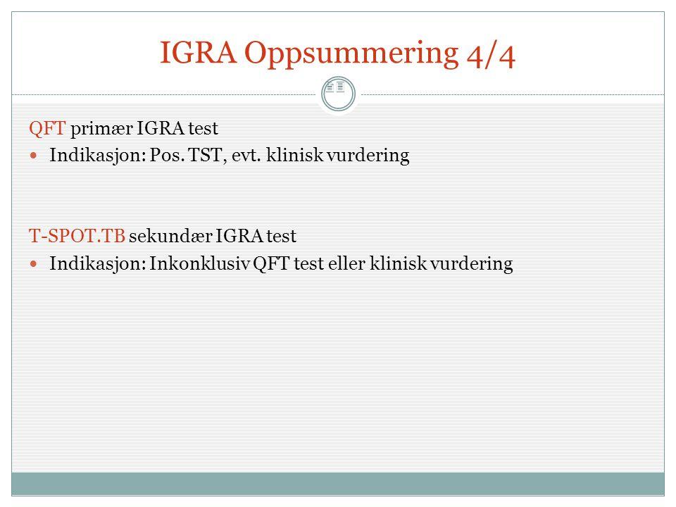 23 IGRA Oppsummering 4/4 QFT primær IGRA test  Indikasjon: Pos. TST, evt. klinisk vurdering T-SPOT.TB sekundær IGRA test  Indikasjon: Inkonklusiv QF