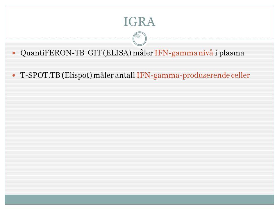 7 IGRA  QuantiFERON-TB GIT (ELISA) måler IFN-gamma nivå i plasma  T-SPOT.TB (Elispot) måler antall IFN-gamma-produserende celler