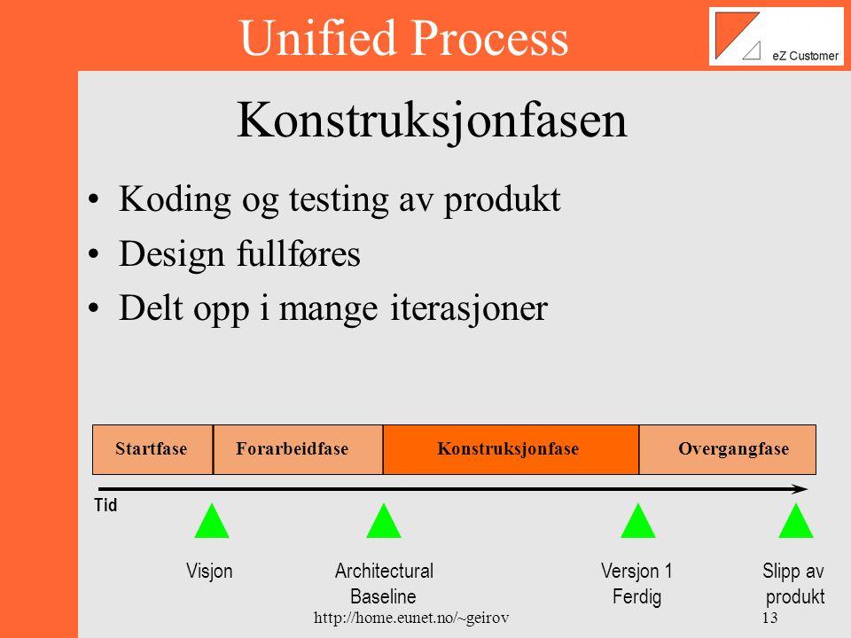 http://home.eunet.no/~geirov12 Forarbeidfasen •Planlegge fremtidige aktiviteter •Spesifisere krav •Definere de største utfordringene •Software arkitektur Unified Process Tid VisjonArchitectural Baseline Versjon 1 Ferdig Slipp av produkt StartfaseForarbeidfase Konstruksjonfase Overgangfase