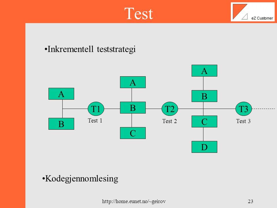 http://home.eunet.no/~geirov22 Testmodellen X 2.1 Opprett kunde Use-case modellTest-case modell Opprett kunde trace Test Nr.KravOpphav/KildePrioritetDato 2.1Administrator/Bruker skal kunne opprette nye kunder i systemet v.h.a en nettleser eZ Systems DV2-2000 A07.02.2000 Forutsetninger : Testbeskrivelse: 1) Velg å opprette ny kunde i database 2) Legg inn informasjon om kunde i database Oppfyllt : Dersom innlagt data er lagret