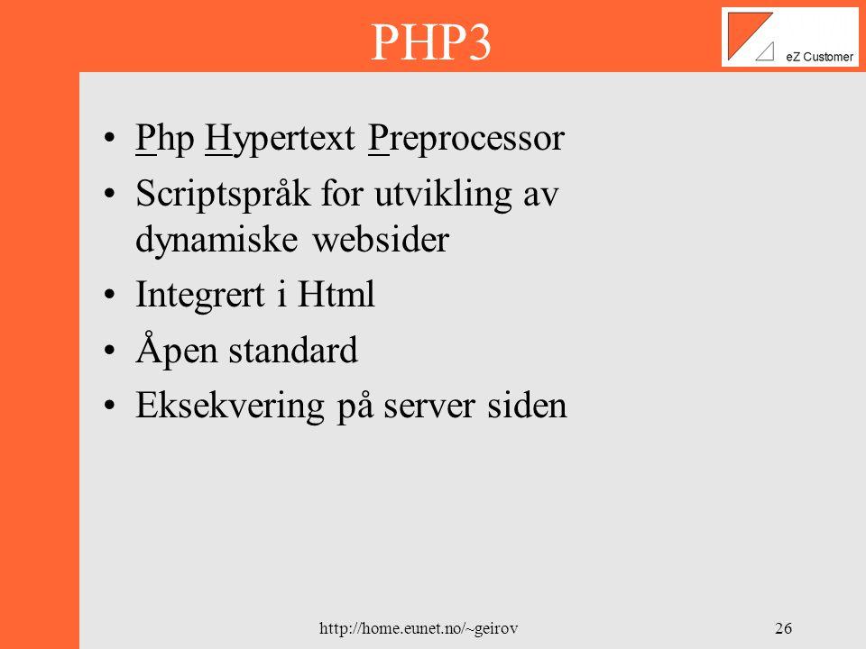 http://home.eunet.no/~geirov25 Hvorfor MySQL .